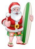 La Navidad Santa Claus Surf Cartoon stock de ilustración