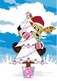La Navidad Santa Giraffe y árbol ilustración del vector