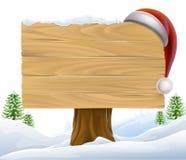 La Navidad Santa Hat Snow Sign Fotografía de archivo