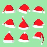 La Navidad Santa Hat Vector Illustration Set stock de ilustración