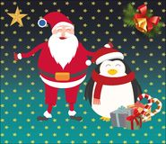 La Navidad santa y pingüino Foto de archivo libre de regalías