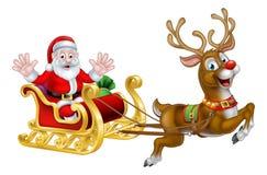 La Navidad Santa y trineo del reno Foto de archivo libre de regalías