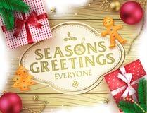 La Navidad sazona el cartel decorativo del saludo de los saludos en el fondo de madera de Brown Imagen de archivo libre de regalías