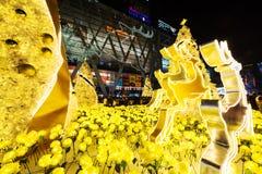 La Navidad se enciende para arriba en el mundo central, Bangkok Fotografía de archivo libre de regalías