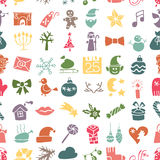 La Navidad, silueta de los iconos del Año Nuevo inconsútil Imagenes de archivo