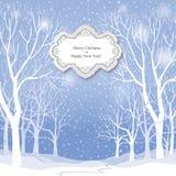 La Navidad Tarjeta de felicitación del paisaje del invierno de la nieve Imágenes de archivo libres de regalías