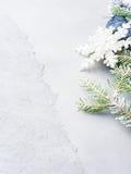 La Navidad texturizó el fondo con las ramas de la nieve del árbol de abeto Foto de archivo
