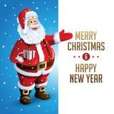 La Navidad Tittle de Santa Claus Cartoon Character Showing Merry escrito en espacio en blanco Ilustración del vector Fotos de archivo