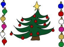 La Navidad tres y ornamentos Imágenes de archivo libres de regalías
