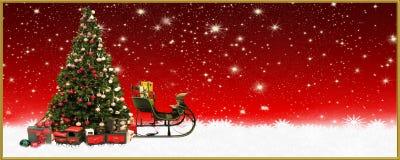 La Navidad: Trineo del ` s del árbol de navidad y de Papá Noel, bandera, fondo Imagenes de archivo