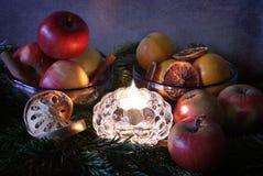 La Navidad: una vela, ramificaciones del pino y frutas Imágenes de archivo libres de regalías