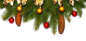 La Navidad Visión superior con el espacio de la copia árbol de abeto con el cono aislado en el fondo blanco Fotos de archivo