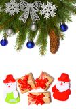La Navidad Visión superior con el espacio de la copia árbol de abeto con el cono en el fondo blanco Fotografía de archivo libre de regalías