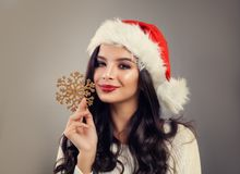 La Navidad Woman Smiling modelo Fotografía de archivo