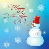 La Navidad y Año Nuevo, diseño del cartel con el muñeco de nieve Imágenes de archivo libres de regalías