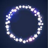 La Navidad y Año Nuevo Garland Light Design en fondo azul Luces del día de fiesta Ilustración del vector Imágenes de archivo libres de regalías