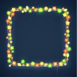 La Navidad y Año Nuevo Garland Light Design en fondo azul Luces del día de fiesta Ilustración del vector Imagenes de archivo