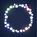 La Navidad y Año Nuevo Garland Light Design en fondo azul Luces del día de fiesta Ilustración del vector Imagen de archivo libre de regalías