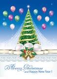 La Navidad 2019 y Año Nuevo Tarjeta de felicitación con el árbol de navidad libre illustration