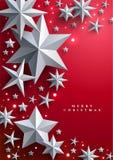 La Navidad y Años Nuevos de fondo rojo con el marco hecho de estrellas Fotografía de archivo