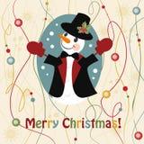 La Navidad y Años Nuevos de tarjeta de felicitación con el muñeco de nieve Fotografía de archivo libre de regalías
