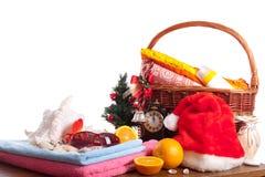 La Navidad y accesorios de la playa Foto de archivo libre de regalías