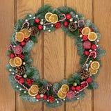 La Navidad y Advent Wreath Foto de archivo libre de regalías