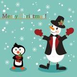 La Navidad y Años Nuevos de tarjeta de felicitación con el muñeco de nieve Imagen de archivo libre de regalías