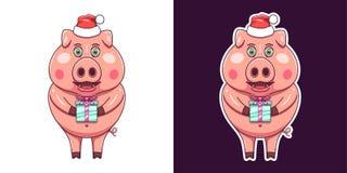 La Navidad y cerdo del Año Nuevo en estilo plano Vector imagen de archivo libre de regalías