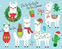 La Navidad y ejemplo del vector de la llama y de la alpaca de los días de fiesta stock de ilustración