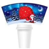 La Navidad y el Año Nuevo diseñan la taza de papel de la plantilla para el café con libre illustration