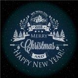 La Navidad y el Año Nuevo etiquetan el efecto de la tiza para usted diseño Imagenes de archivo
