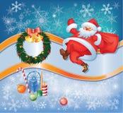 La Navidad y el Año Nuevo fijaron con Santa y decorati Imagen de archivo libre de regalías