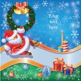 La Navidad y el Año Nuevo fijaron con Santa y decorati Fotos de archivo