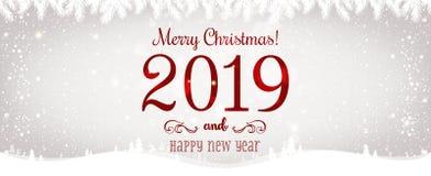 La Navidad y el Año Nuevo tipográficos en fondo brillante de Navidad con invierno ajardinan con los copos de nieve, se encienden, stock de ilustración
