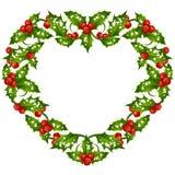 La Navidad y el Año Nuevo Vector el marco del acebo en la forma de corazón Fotos de archivo libres de regalías
