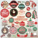 La Navidad y el Año Nuevo vector el sistema de etiquetas en estilo retro Imágenes de archivo libres de regalías