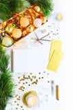 La Navidad y espacio de trabajo creativo del Año Nuevo Fotografía de archivo libre de regalías