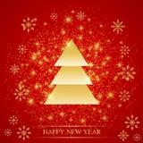 La Navidad y Felices Año Nuevo en el fondo rojo con los copos de nieve de oro, abeto Ilustración del vector Fotografía de archivo libre de regalías