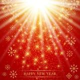 La Navidad y Felices Año Nuevo en el fondo rojo con los copos de nieve de oro Ilustración del vector Fotografía de archivo