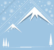La Navidad y Feliz Año Nuevo con la montaña Stock de ilustración