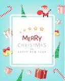 La Navidad y festival de la Feliz Año Nuevo, tarjeta de felicitación de la Navidad Imagen de archivo