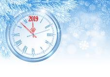 La Navidad y reloj del Año Nuevo fotos de archivo