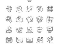La navigation Bien-a ouvré la ligne mince de vecteur parfait de pixel la grille 2x des icônes 30 pour des graphiques et Apps de W Images stock