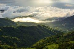 La nebbia ha coperto le montagne Fotografia Stock
