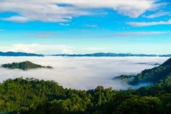 La nebbia a Khao Phanoen Thung, parco nazionale di Kaeng Krachan in Th Fotografie Stock