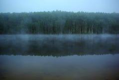 La nebbia mistica sul lago Immagine Stock