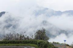 La nebbia pesante aumenta nella valle Fotografia Stock