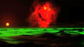 La nebulosa bruciante sopra un pianeta straniero video d archivio