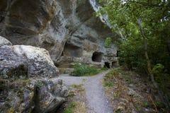 La necropoli della città antica della caverna Fotografie Stock